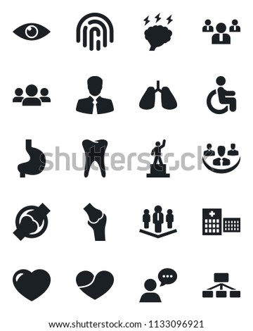 Set of vector isolated black icon - pedestal vector, team, brainstorm, disabled, stomach, lungs, tooth, eye, joint, hospital, client, speaker, heart, fingerprint id, company, group, hierarchy #1133096921