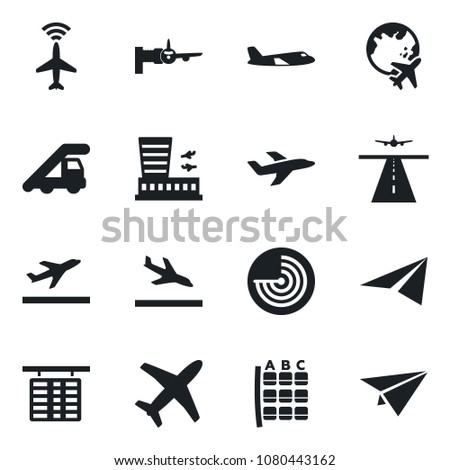 Set of vector isolated black icon - runway vector, plane radar, departure, arrival, ladder car, boarding, seat map, flight table, globe, airport building, paper