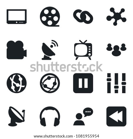 Set of vector isolated black icon - satellite antenna vector, reel, tv, settings, video camera, network, speaker, headphones, share, chain, group, pause button, rewind