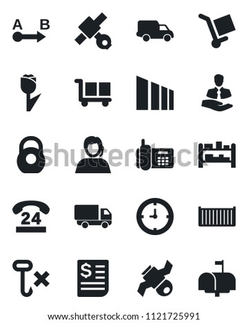 Set of vector isolated black icon - satellite vector, office phone, 24 hours, support, client, cargo container, car delivery, clock, receipt, no hook, tulip, sorting, heavy, route, rack, mailbox