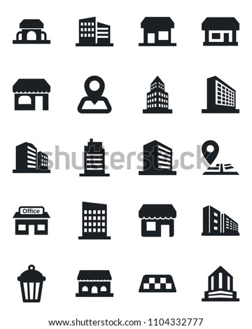 Set of vector isolated black icon - taxi vector, shop, office building, garden light, navigation, store, city house, cafe, storefront