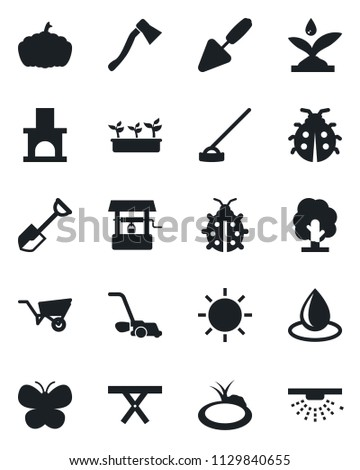 Set of vector isolated black icon - trowel vector, shovel, tree, wheelbarrow, lawn mower, butterfly, lady bug, seedling, water drop, sun, well, hoe, axe, pumpkin, fireplace, pond, picnic table