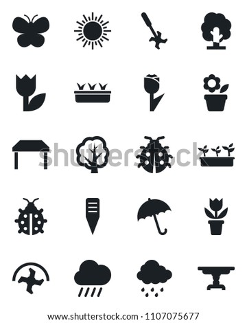 Set of vector isolated black icon - umbrella vector, sun, flower in pot, ripper, tree, butterfly, lady bug, seedling, rain, plant label, tulip, table