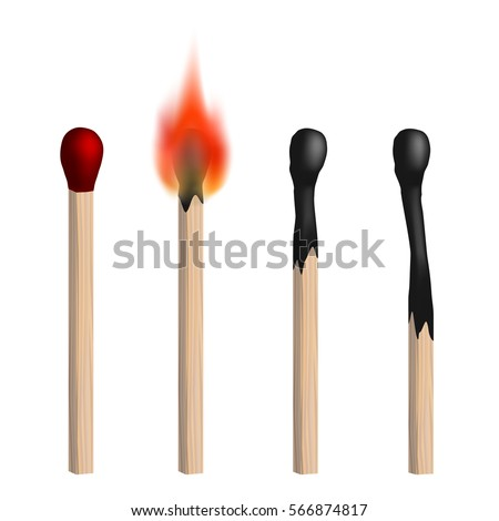 Set of vector isolated realistic matches. New, burning and burned matches on white background.
