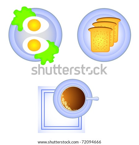 Set of vector isolates. Breakfast view from above. A cup of coffee, toast, boiled egg.