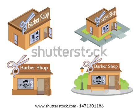 Set of Vector isometric Barbershops from different angles. Facade of Barbershop isolated on white background. Barber House. Cuts Hair Building. Barbershop emblem. Vector graphics to design