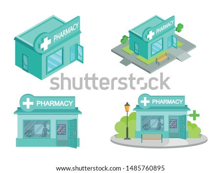 Set of Vector isometric Drugstores from different angles. Facade of Pharmacy Store isolated on white background. Drugstore House. Drugstore front. Vector graphics