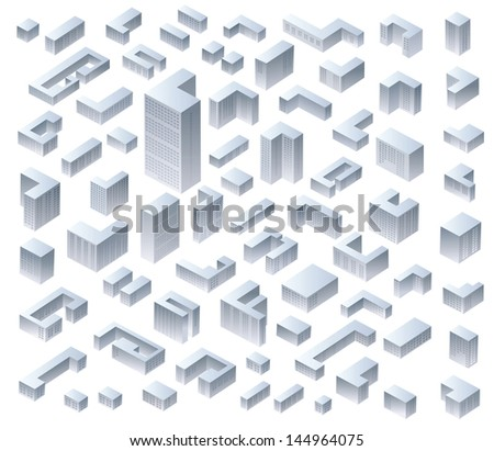 Set of vector isometric modern houses
