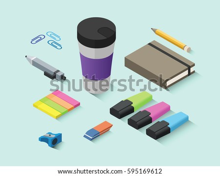 Set of vector isometric office items, stationery icons, 3d flat objects for working