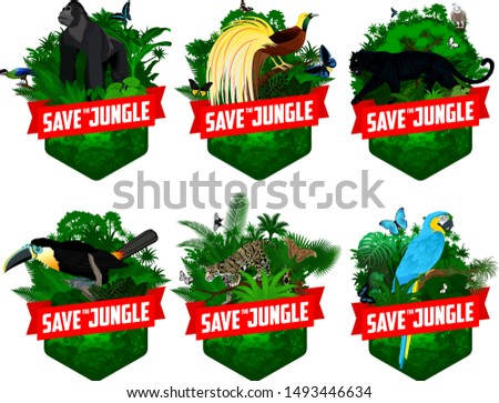 set of vector jungle rainforest emblems with black panther, Griffon vulture,  channel-billed toucan, Bird of Paradise, parrot blue-and-yellow macaw, with male gorilla, clouded leopard and butterflies