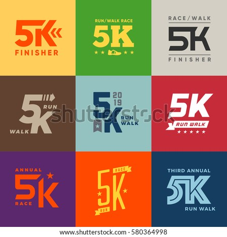 Vector Images Illustrations And Cliparts Set Of Vector 5k Run Walk