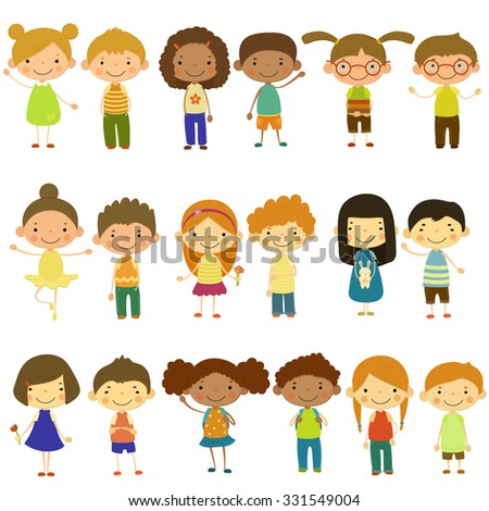 Set of vector kids of different lifestyles and cultures. Flat design.