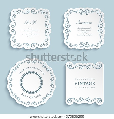 Set of vector labels, cutout paper frames with flourish decoration, vintage ornamental calligraphic vignettes, eps10