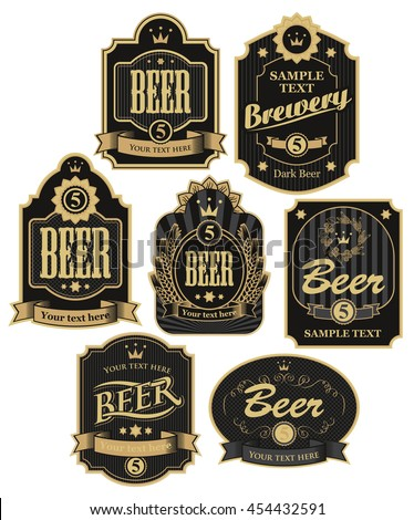 set of vector labels for beer