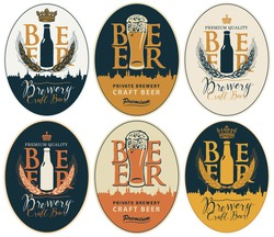 Set of vector labels for craft beer and Breweries in oval frames in retro style. Labels with overflowing glasses of frothy beer, beer bottles, wheat ears, inscriptions and silhouettes of old cities