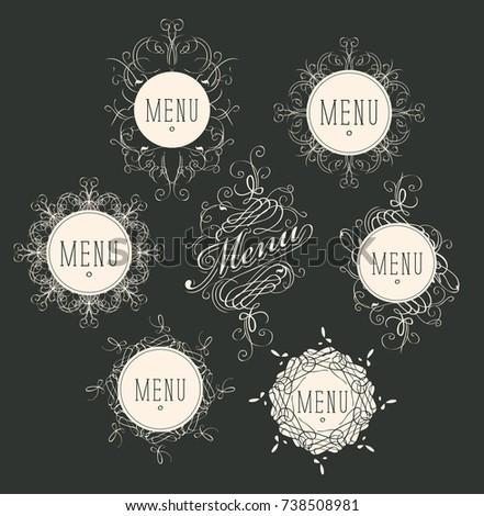 Set of vector labels for restaurant menu design or cafe Stok fotoğraf ©
