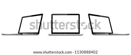 Set of vector laptops with blank screen isolated on white background. Perspective and front view with blank screen.