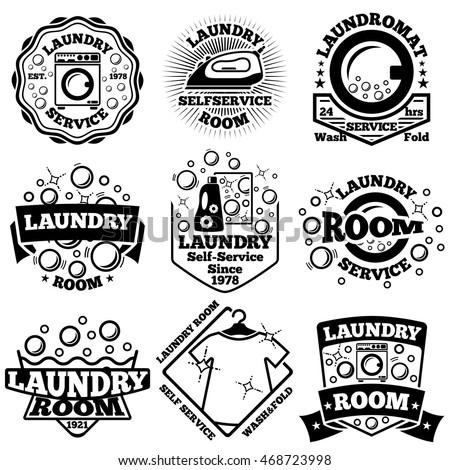 Set of Vector Laundry badges. With bubbles, laundromat, detergent etc.