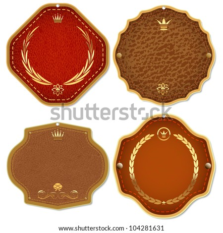 Set of vector leather & gold premium quality labels and emblems.