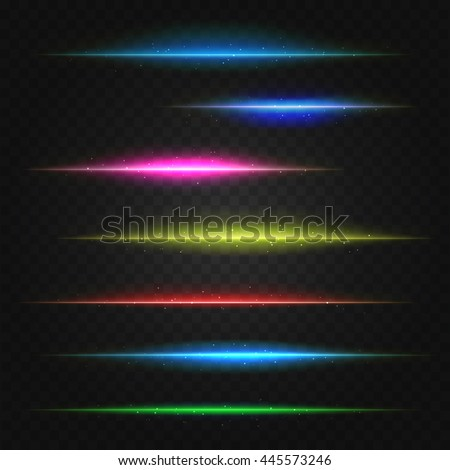 set of vector lens flares lines