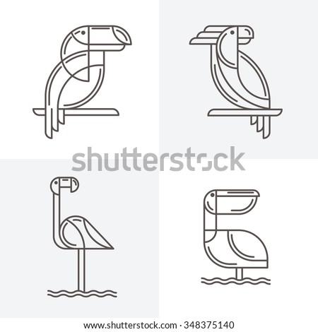 set of vector line art logo with exotic tropical birds outline