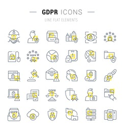 Set of vector line icons and signs with yellow squares of gdpr for excellent concepts. Collection of infographics logos and pictograms.