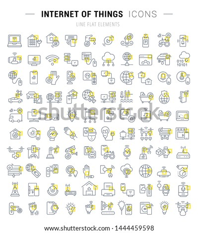 Set of vector line icons and signs with yellow squares of internet of things for excellent concepts.