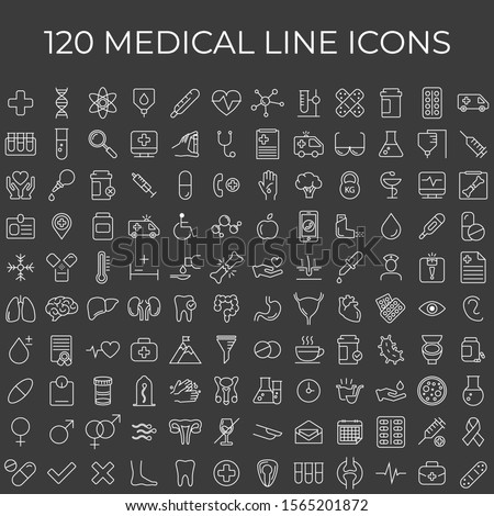 Set of 120 vector line icons and symbols in flat design medicine and health with elements for mobile concepts and web apps. Collection of modern medical and health life infographic logo and pictogram.