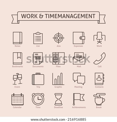 Set of vector line icons for productivity personal development timing time management work schedule planning working day events trips expenses reaching goals isolated on light background