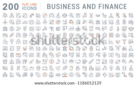 Set of vector line icons of business and finance for modern concepts, web and apps.