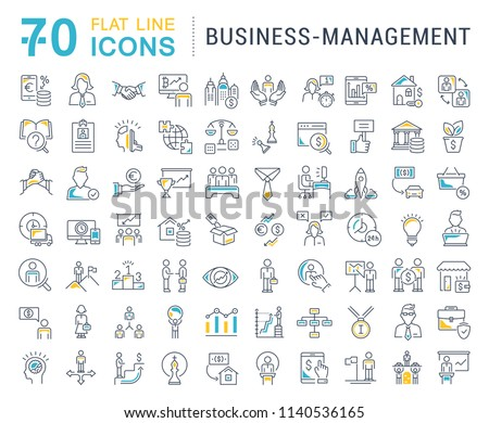 Set of vector line icons of business-management for modern concepts, web and apps.