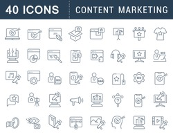 Set of vector line icons of content marketing for modern concepts, web and apps.