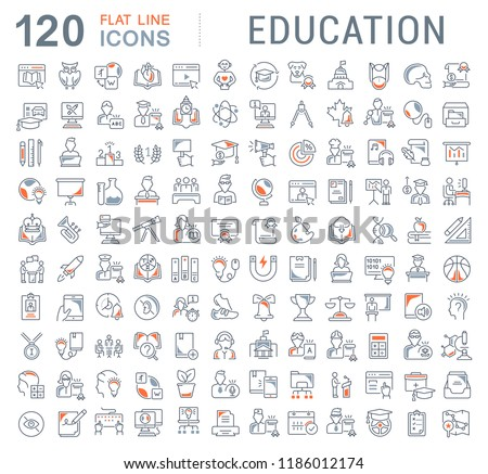 Set of vector line icons of education for modern concepts, web and apps.