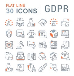 Set of vector line icons of gdpr for modern concepts, web and apps.