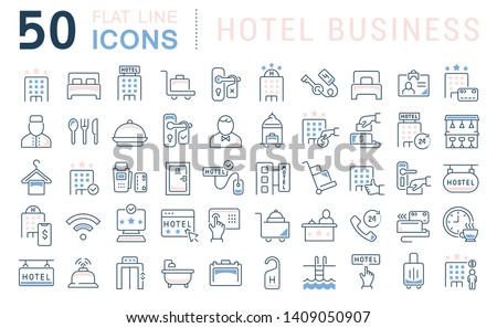 set of vector line icons of