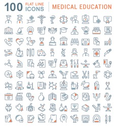 Set of vector line icons of medical education for modern concepts, web and apps.