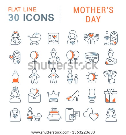 Set of vector line icons of mother's day for modern concepts, web and apps.