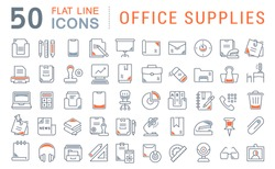 Set of vector line icons of office supplies for modern concepts, web and apps.