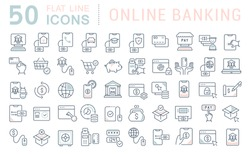 Set of vector line icons of online banking for modern concepts, web and apps.