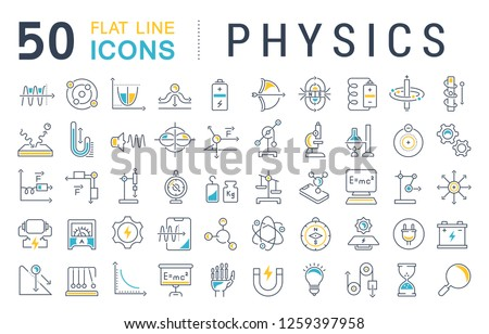Set of vector line icons of physics for modern concepts, web and apps.