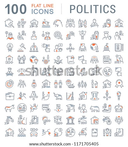 Set of vector line icons of politics for modern concepts, web and apps.