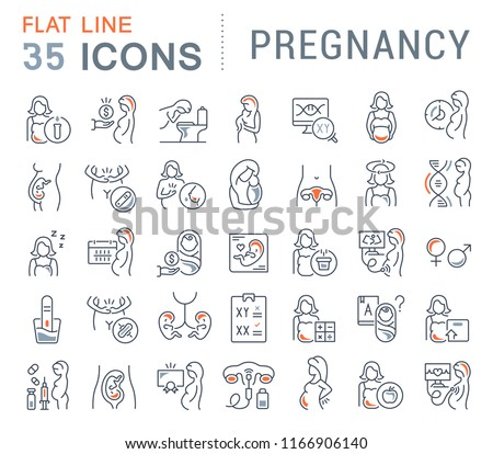 Set of vector line icons of pregnancy for modern concepts, web and apps.