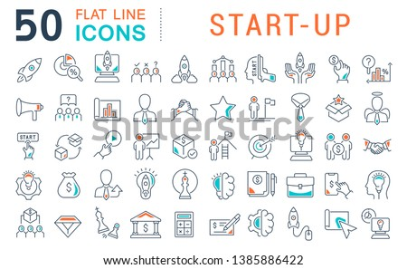 Set of vector line icons of startup for modern concepts, web and apps.