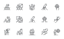 Set of Vector Line Icons Related to Coaching. Business Training, Mentoring, Motivation. Coach, Leader. Editable Stroke. Pixel Perfect.
