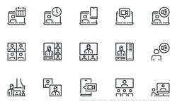 Set of Vector Line Icons Related to Online Meeting and Video Conference. Work from Home. Webcam Group Conference with Coworkers. Online Group Videoconference. Editable Stroke. Pixel Perfect.