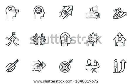 Set of Vector Line Icons Related to Persistence, Determination, Purposefulness, Assertiveness, Striving for Development. Editable Stroke. Pixel Perfect.