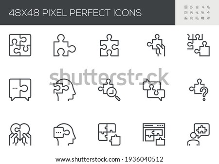 Set of Vector Line Icons Related to Puzzle. Puzzle Pieces, Conundrum, Mental Technique, Thinking Man. Editable Stroke. 48x48 Pixel Perfect. Foto stock ©