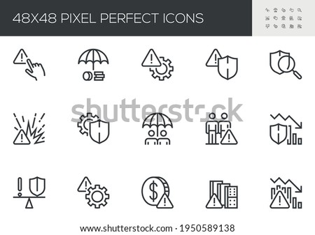 Set of Vector Line Icons Related to Risk Management. Risk Analysis, Investment Plan, Managerial Decision, Minimizing Losses. Editable Stroke. 48x48 Pixel Perfect.