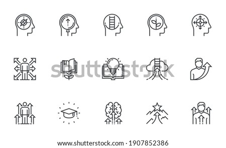 Set of Vector Line Icons Related to Self Development. Self Improvement, Personal Growth, Self Education. Editable Stroke. Pixel Perfect.