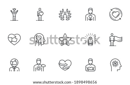 Set of Vector Line Icons Related to Self-esteem. Self-acceptance, Self-respect, Self-development. Editable Stroke. Pixel Perfect. Foto stock ©